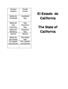 Bilingual Labels and Map of California