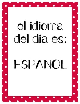 Bilingual Language of the Day Sign - English and Spanish