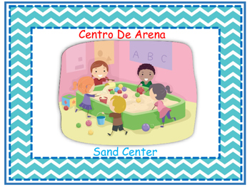 Bilingual Learning Centers Signs - Blue Chevron Theme