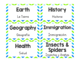 Bilingual Library Labels - Green & Blue Theme
