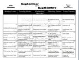 Bilingual Math Homework Calendar (Sept.-May 2017-2018)