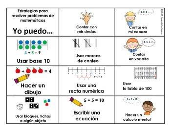 Bilingual Math Strategy Reference Sheet- Estrategias de Matematicas- Common Core