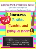 Bilingual Math Vocabulary Cards Tarjetas Bilingues de Vocabulario de matematicas