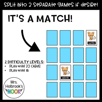 Bilingual Memory Matching Game (Animals)