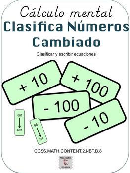 Bilingual:Mental Math-Sorting+extension(+/-10/100)Math Centers/2nd Grade(BUNDLE)