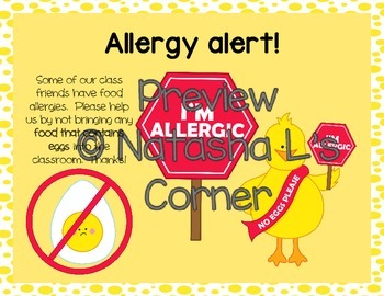 Bilingual Mini Posters for Class Allergies (English and Spanish)