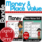 Bilingual Money and Place Value Bundle in English & Spanish
