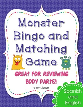 Bilingual Monster Bingo and Matching Card Game