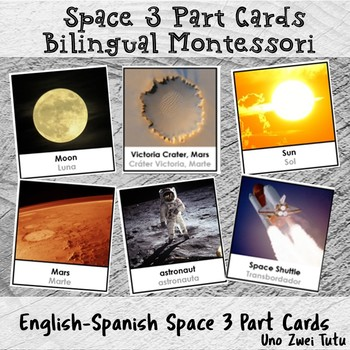 Bilingual Montessori Space 3 Part Cards Solar System In Spanish And English
