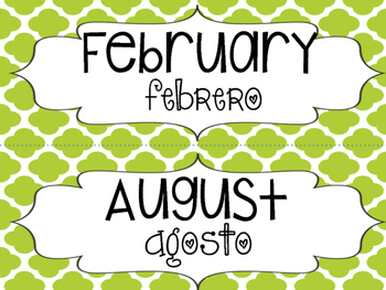 Bilingual Monthly Calendar Headers