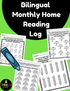 Bilingual Monthly Reading Logs (Registro de libros espanol)