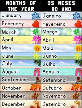 Bilingual Months of the Year/Os Meses Do Ano – Portuguese and English