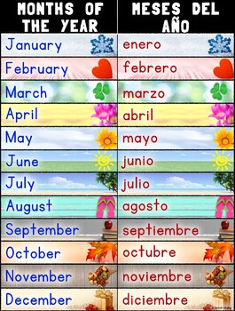 bilingual months of the year poster spanish and english tpt
