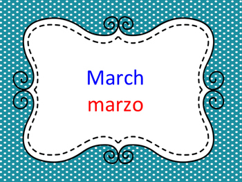 Bilingual Months of the year (birthday chart cards)