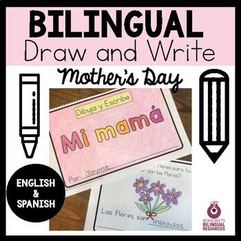 Bilingual Mother's Day Draw & Write Book with Word Cards