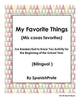 Bilingual My Favorite Things (Ice Breaker) Activity (Start of the School Year)