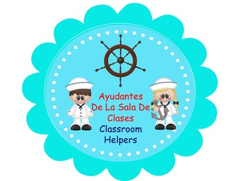 Bilingual Nautical  Classroom Helper Welcome Banner And Tables Signs