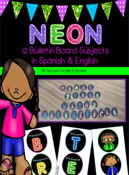 Bilingual Neon Bulletin Board Subject Letters