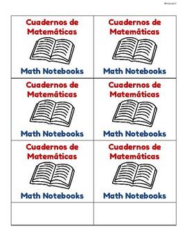 Bilingual Notebook Bin Labels (English and Spanish)