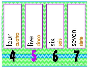 Bilingual Number Word Cards and Number Line