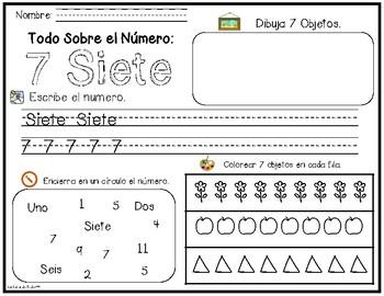 Bilingual Number Exploration 1-10 - Spanish and English