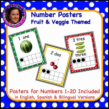 Bilingual Number Posters 1-20 with Real Pictures of Fruits & Vegetables