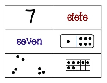 Bilingual Number Sense (Subitizing) Puzzles and Cards 1-30