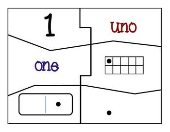Bilingual Number Sense (Subitizing) Puzzles and Cards 1-30