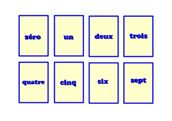 Number Snap Cards  in French (0-20)