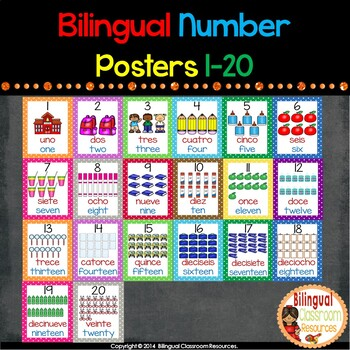 Bilingual Number Wall Posters 1-20