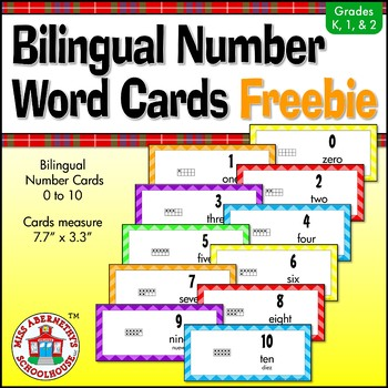Bilingual Number Word Card Freebie