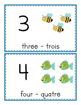 Numbers - Numéros 1-10 FLASHCARDS (Bilingual English & French)