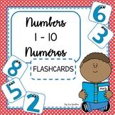 Numbers - Numéros 1-10 FLASHCARDS (Bilingual English & French)