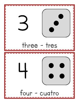 Numbers - Números 1-10 FLASHCARDS (Bilingual English & Spanish)
