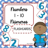 Numbers - Números 1-10 FLASHCARDS (Bilingual English & Spanish)