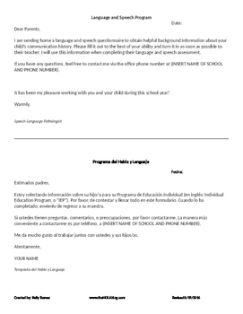 Bilingual Parent History Request Cover Sheet - English and Spanish
