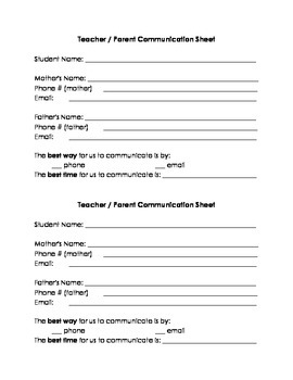 Bilingual Parent Information Sheet