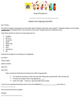 HALLOWEEN/OCTOBER-Bilingual Parent Letter for Speech Therapy