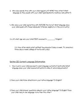 Bilingual Parent Questionnaire - Speech