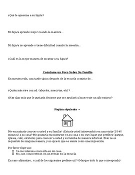 Bilingual Parent Questionnaire and Home Visit Request