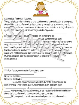 Bilingual Parent Teacher Conference Material Packet Spanish and English