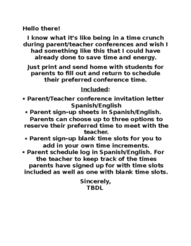Bilingual Parent/Teacher Conference sign-up sheets