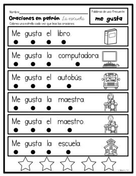 Patterned Sentences in Spanish and English- I like (school theme)