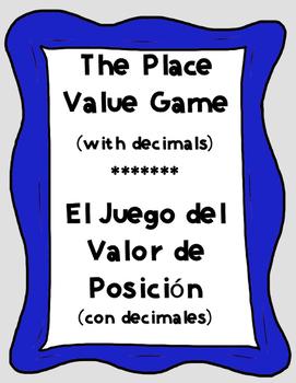 Bilingual Place Value Game (Decimals) - El Juego del Valor del Lugar (Decimales)