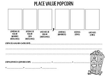 Bilingual Place Value Popcorn Activity/Game