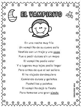 Halloween Poem English Spanish The Little Vampire El Vampirito