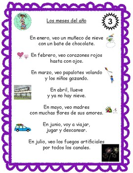 Bilingual Poem of the Week: Los meses del año Bundle