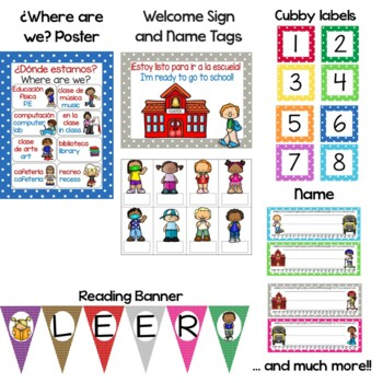 Bilingual Polka Dot Calendar Set and Classroom Decorations