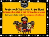 Bilingual Preschool Area Signs with Black Border (English/Spanish)