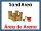 Bilingual Preschool Area Signs with Blue Border